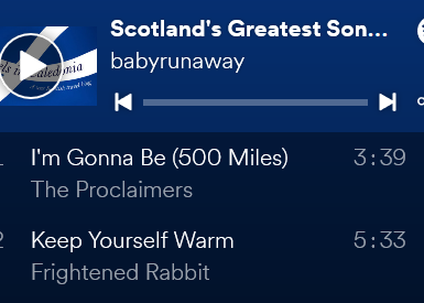 playlist screenshot scottish music