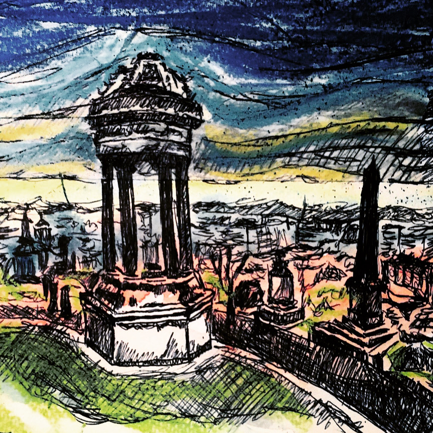 view-from-glasgow-necropolis-sketch-doodle-by-jane-meighan
